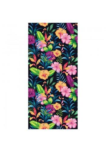 Plážový ručník černé barvy s barevným květinovým motivem