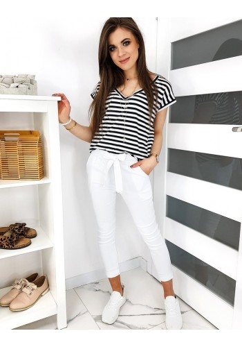 Dámské módní kalhoty s mašlí v bílé barvě