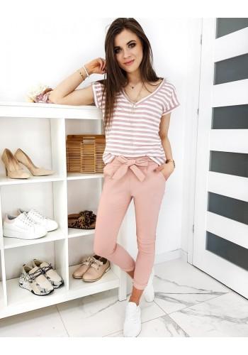 Módní dámské kalhoty růžové barvy s mašlí