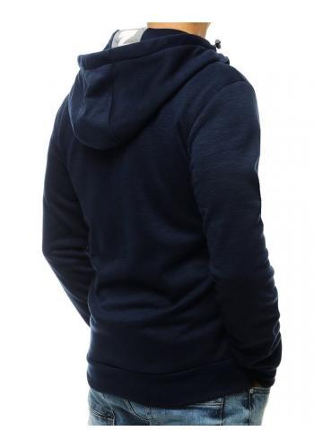 Pánská módní mikina s kapucí v tmavě modré barvě