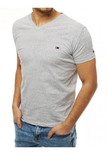 Světle šedé bavlněné tričko s výstřihem ve tvaru V pro pány