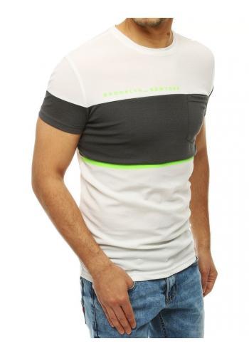 Bílé stylové tričko s kapsou na hrudi pro pány