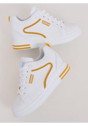 Bílo-žluté stylové tenisky na skrytém podpatku pro dámy