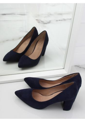 Semišové dámské lodičky tmavě modré barvy na stabilním podpatku