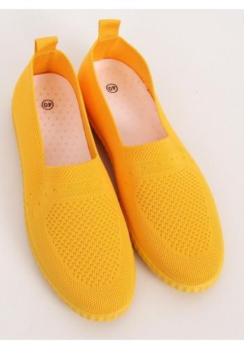 Nazouvací dámské tenisky žluté barvy s pružnou podrážkou