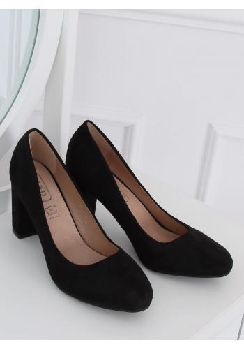 Semišové dámské lodičky černé barvy na stabilním podpatku