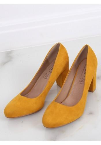 Žluté semišové lodičky na stabilním podpatku pro dámy