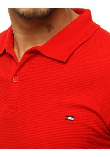 Červená módní polokošile se dvěma knoflíky pro pány