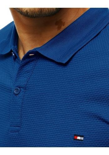 Pánská módní polokošile se dvěma knoflíky v tmavě modré barvě