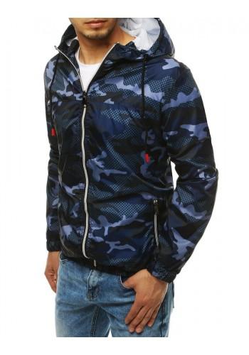 Tmavě modrá maskáčová bunda s potiskem na zádech pro pány