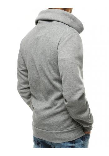 Pánská stylová mikina s komínem v světle šedé barvě