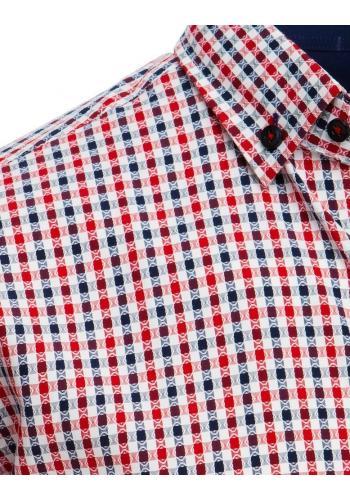 Modro-červená kostkovaná košile s krátkým rukávem pro pány