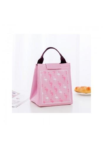 Termotaška na přepravu potravin s motivem plameňáků v růžové barvě