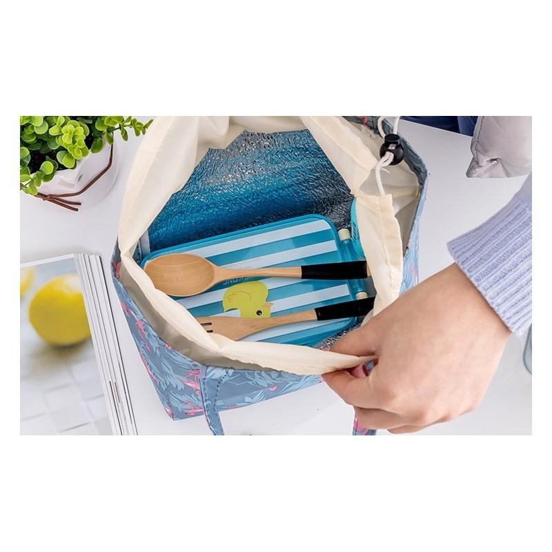 Termotaška modré barvy na přepravu potravin s motivem plameňáků
