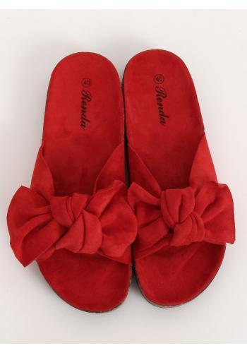Semišové dámské pantofle červené barvy na korkové podrážce