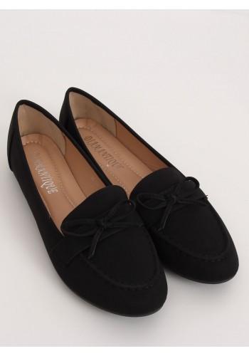 Klasické dámské mokasíny černé barvy s mašlí