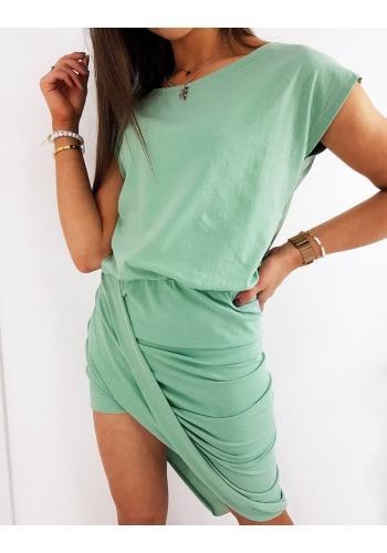 Mátové letní šaty s asymetrickou dolní částí pro dámy