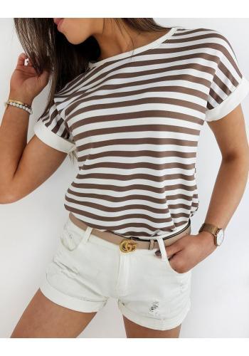 Dámské proužkované tričko s krátkým rukávem v béžovo-bílé barvě