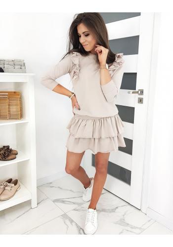 Dámský komplet mikiny a sukně v béžové barvě