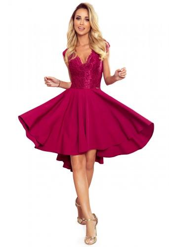 Dámské exkluzivní šaty s krajkovým výstřihem v bordové barvě