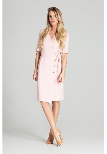 Růžové obálkové šaty s vázáním v pase pro dámy