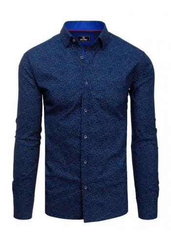 Tmavomodrá vzorovaná košile s dlouhým rukávem pro pány