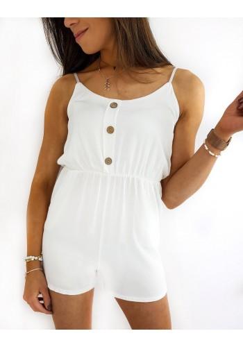Letní dámský overal bílé barvy na ramínka
