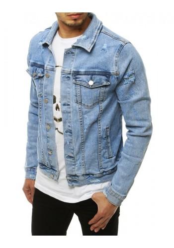 Riflová pánská bunda světle modré barvy s dírami