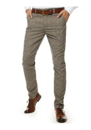 Elegantní pánské kalhoty šedé barvy se vzorem