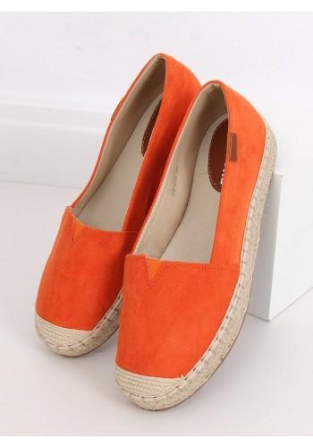 Dámské klasické espadrilky s vysokou podrážkou v oranžové barvě