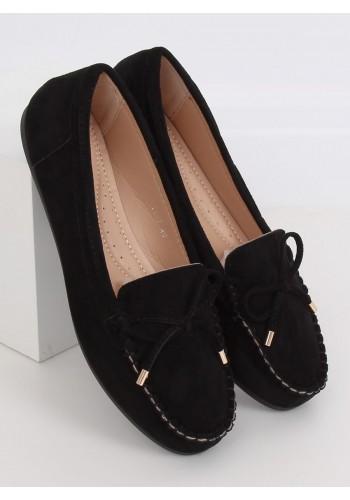 Semišové dámské mokasíny černé barvy s mašlí