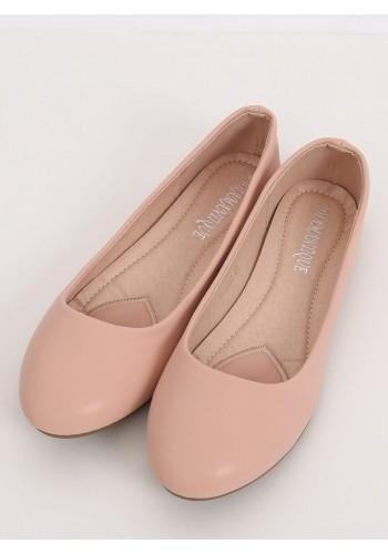 Klasické dámské balerínky růžové barvy s matným povrchem