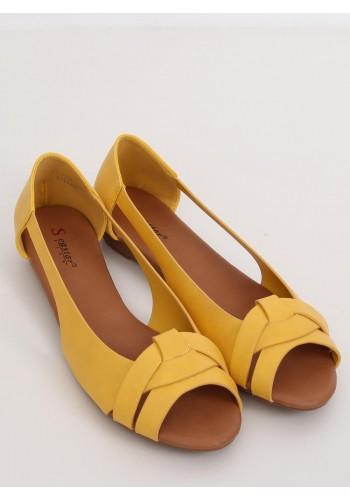 Módní dámské balerínky žluté barvy s výřezy