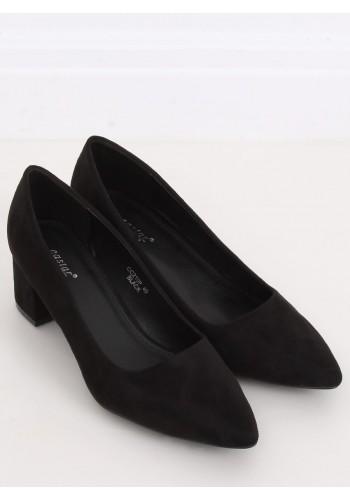Semišové dámské lodičky černé barvy na širokém podpatku
