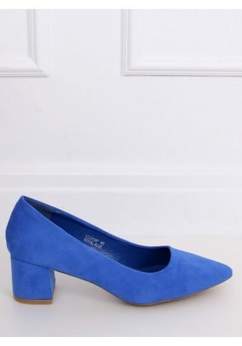 Modré semišové lodičky na širokém podpatku pro dámy