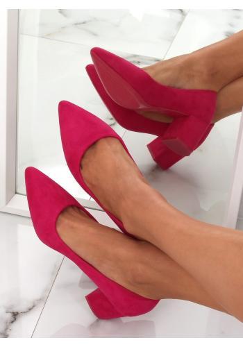 Růžové semišové lodičky na podpatku pro dámy