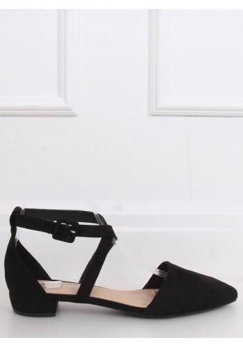 Semišové dámské balerínky černé barvy s překříženými pásky