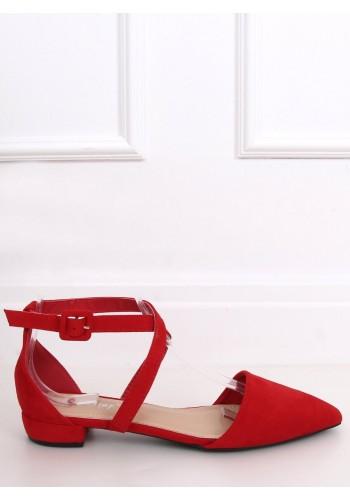 Dámské semišové balerínky s překříženými pásky v červené barvě