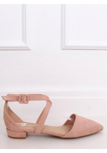 Světle růžové semišové balerínky s překříženými pásky pro dámy