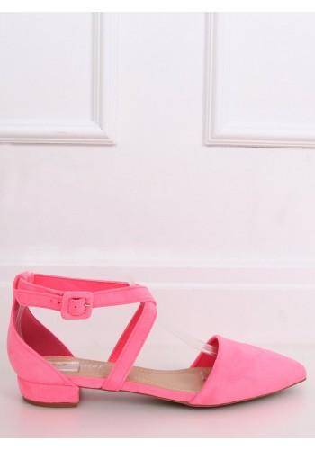 Semišové dámské balerínky neonově růžové barvy s překříženými pásky