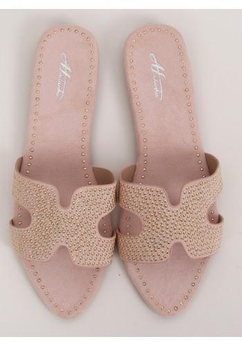 Růžové semišové pantofle se zlatým vybíjením pro dámy