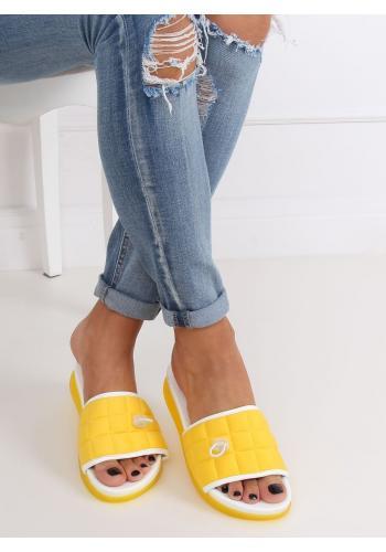 Dámské pohodlné pantofle s prošívaným pásem ve žluté barvě