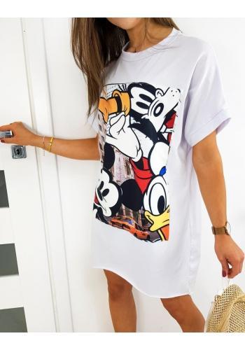 Bílé oversize šaty s potiskem Mickey pro dámy