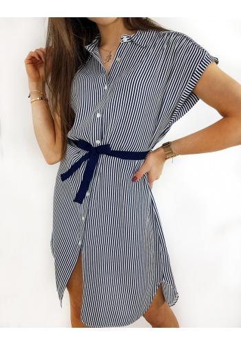 Modro-bílé košilové šaty s proužky pro dámy