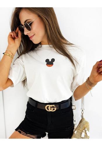 Dámské módní tričko s potiskem Mickey v bílé barvě