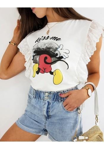 Módní dámské tričko bílé barvy s pohádkovým motivem