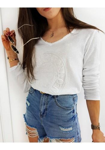 Bílé bavlněné tričko s 3D aplikací pro dámy