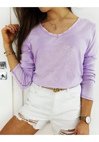 Bavlněné dámské tričko fialové barvy s 3D aplikací