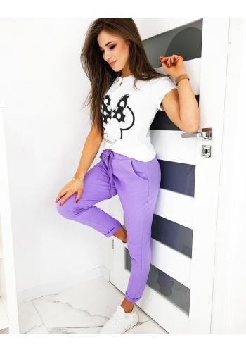 Fialové pohodlné kalhoty s gumičkou v pase pro dámy