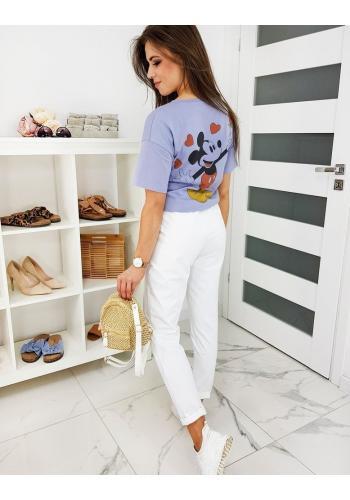 Pohodlné dámské kalhoty bílé barvy s gumičkou v pase
